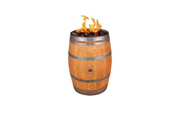Dřevěný sud s ohněm